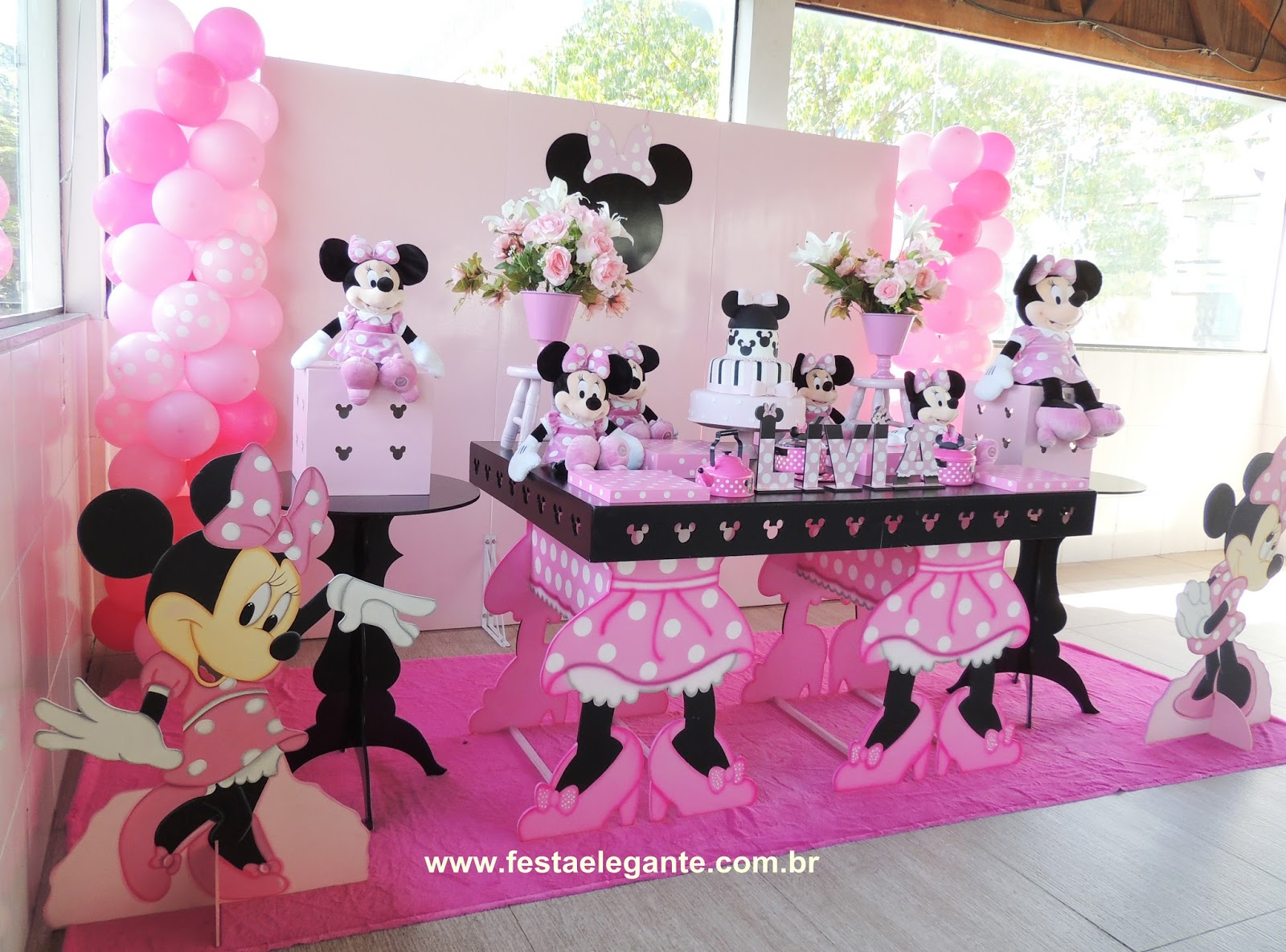 decoracao festa minnie rosa: minnie rosa, festa minnie rosa, minnie rosa, pelúcia minnie rosa