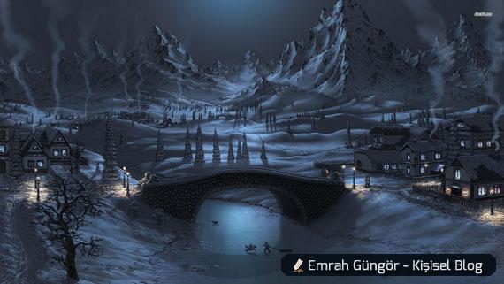 kış gelince gece oyun oynayan çocuklar