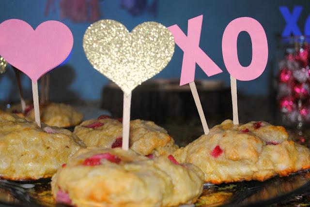 Galentine's day brunch strawberry scones with heart picks