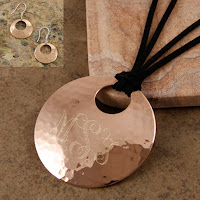 monogram copper pendant necklace