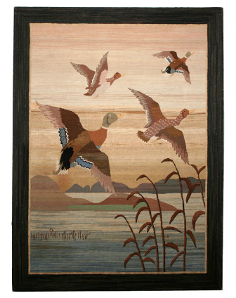 Hooked Rug: Mallard Ducks Take Flight