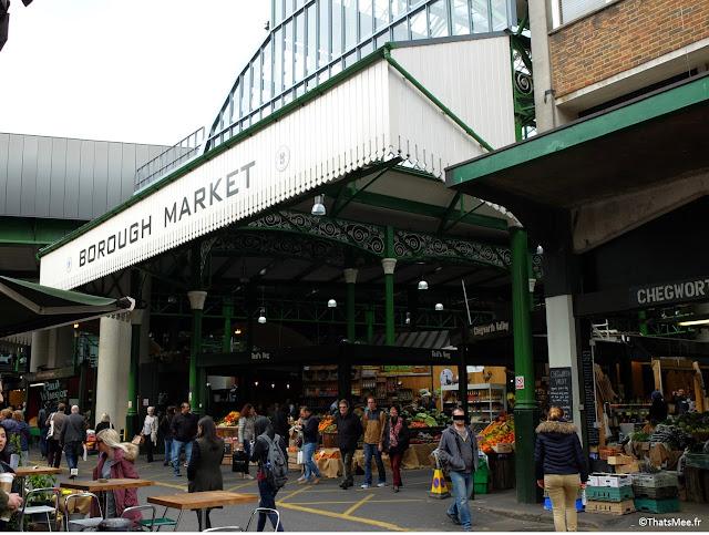 sortie sud-ouest Borough Market marché couvert food gastronomie Londres