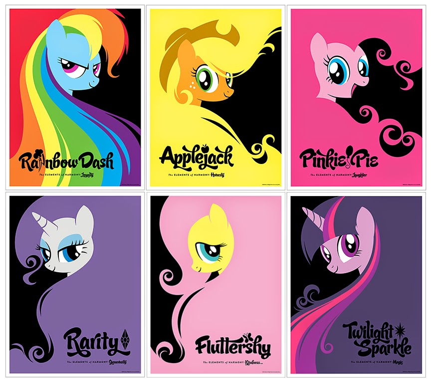 New York Comic Con 2014 Exclusive My Little Pony Elements of Harmony Print Set by Michael De Pippo