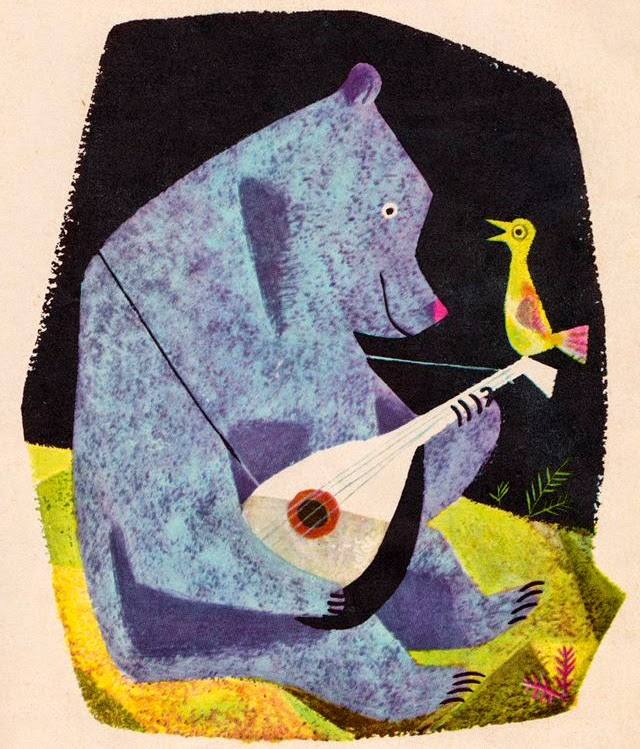 blue bear playing his lute for a yellow bird illustration by J.P.Miller
