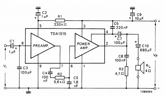 Circuit diagram TDA1015 Audio Amplifier 1x4W