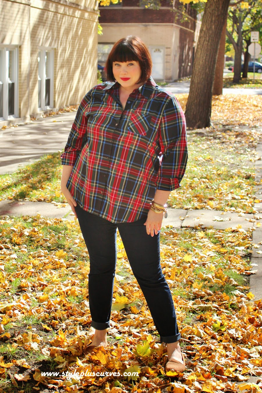 Amber from Style Plus Curves in a Plussize Foxcroft Plaid Tunic