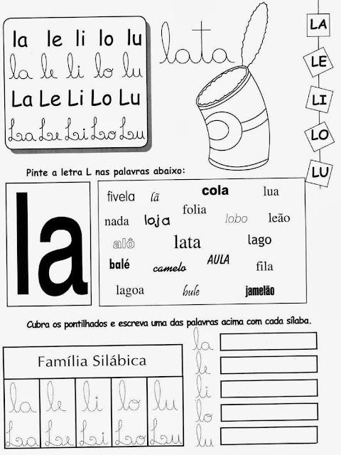 lata,Atividades com a letra L.Ensino Fundamental, Atividades para imprimir, Alfabetização, Letras, 1º ano.