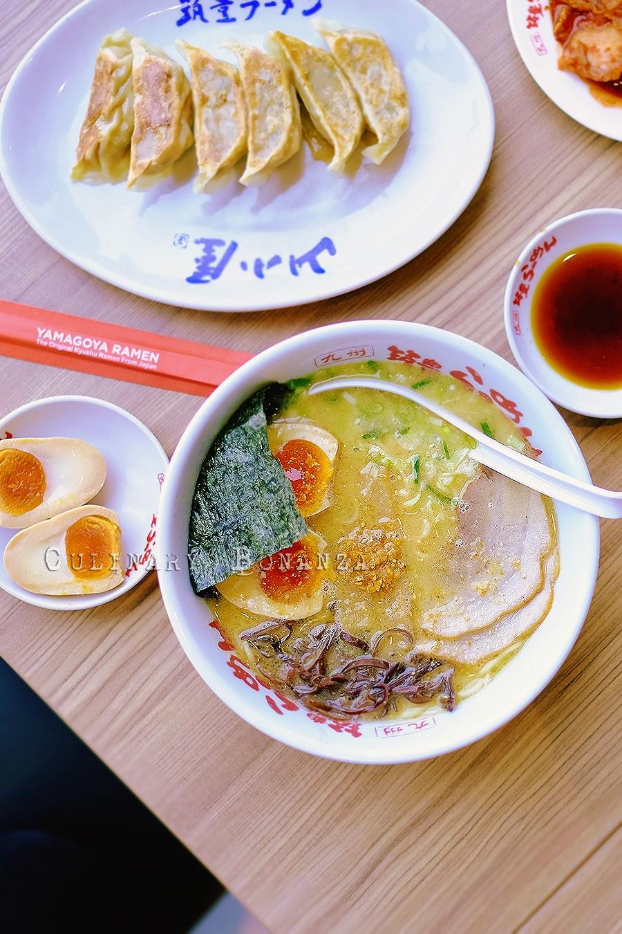 tonkotsu ramen, tamago and gyoza