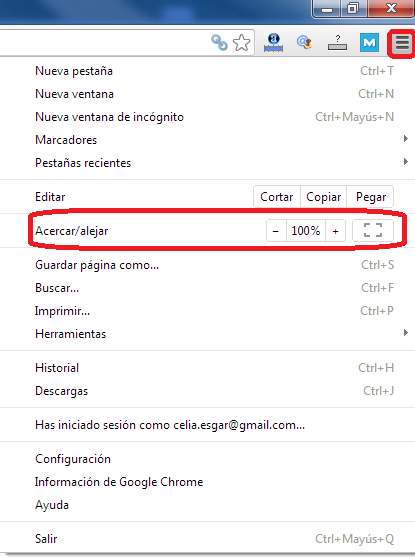 Menu configuracion Google Chrome