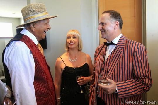 L-R: Merrill Fernando, Dilmah Tea, with Sally Jackson, Art Deco Trust, and John Key, Prime Minister. photograph