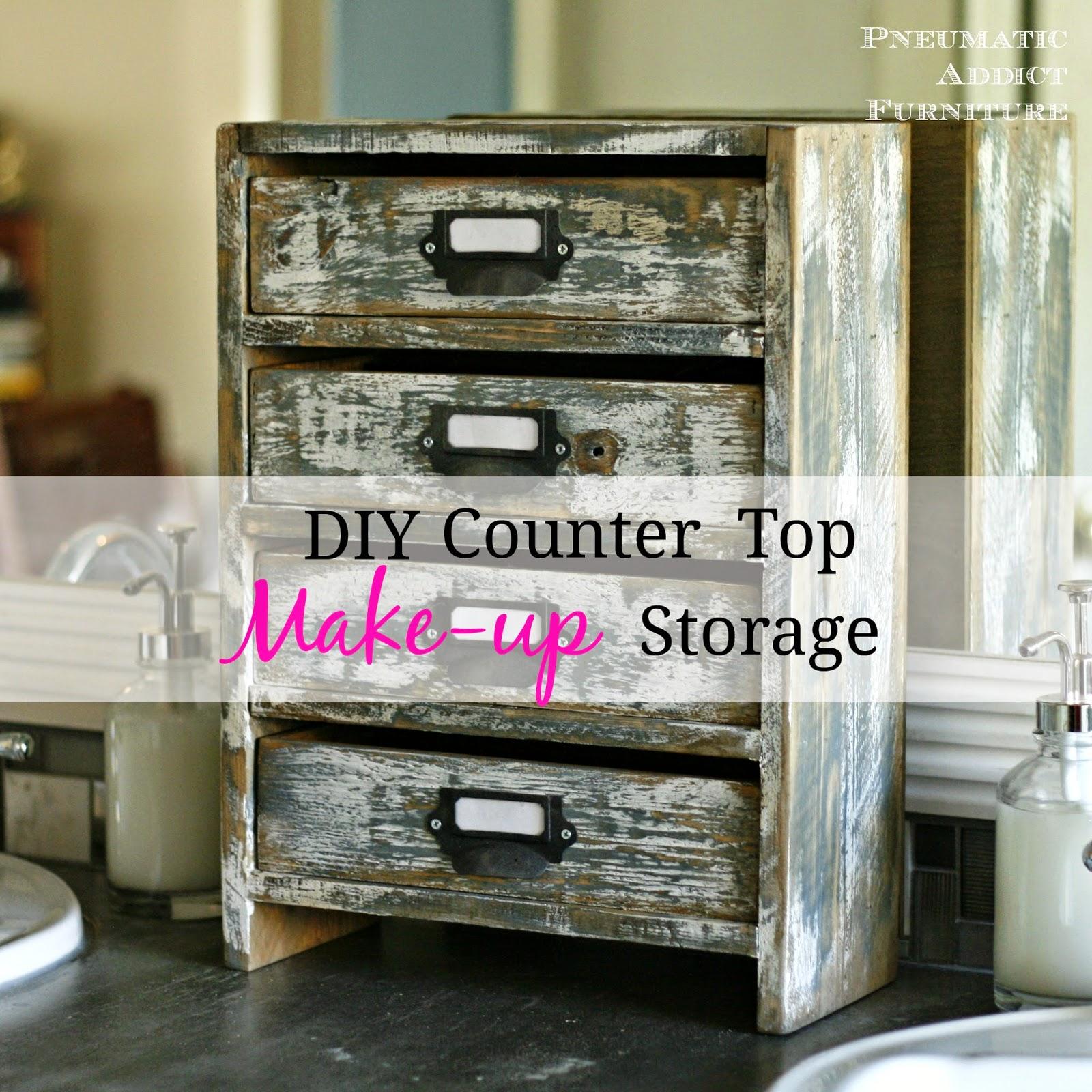 Diy Counter Top Make Up Storage
