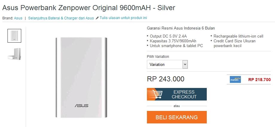 Harga ASUS ZenPower 9600mAh Lazada