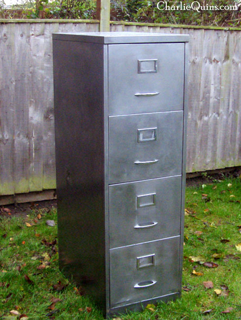This Filing Cabinet Has Been Stripped And Polishes, Apart From The Back  Which Has The Original Paint, I Was Thinking Of Painting This With Black  Hammerite ...