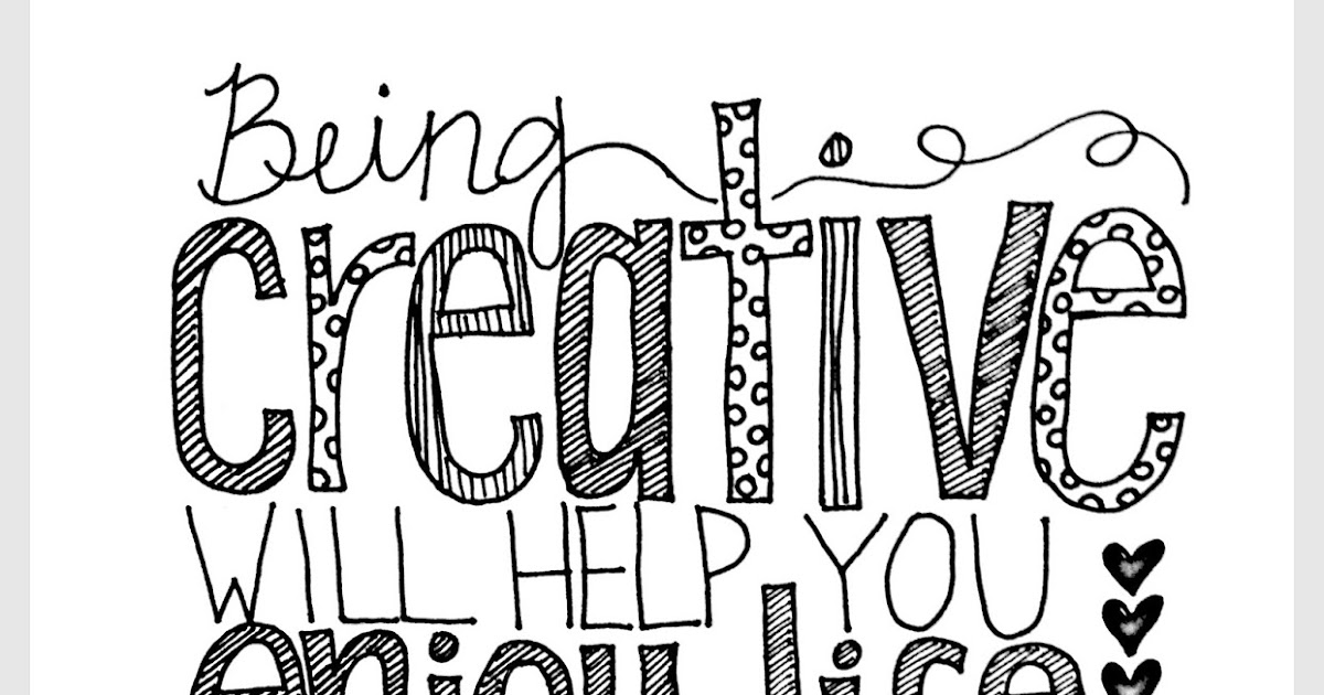 quot Being Creative quot Quote Coloring Page