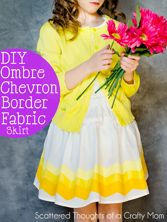 Make this DIY ombre chevron border fabric with chevron Shape Tape and fabric paint. #FrogTape
