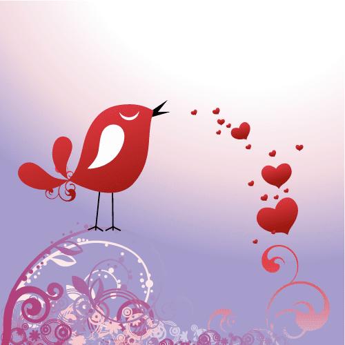Postal de pajarito de San Valentín - Vector