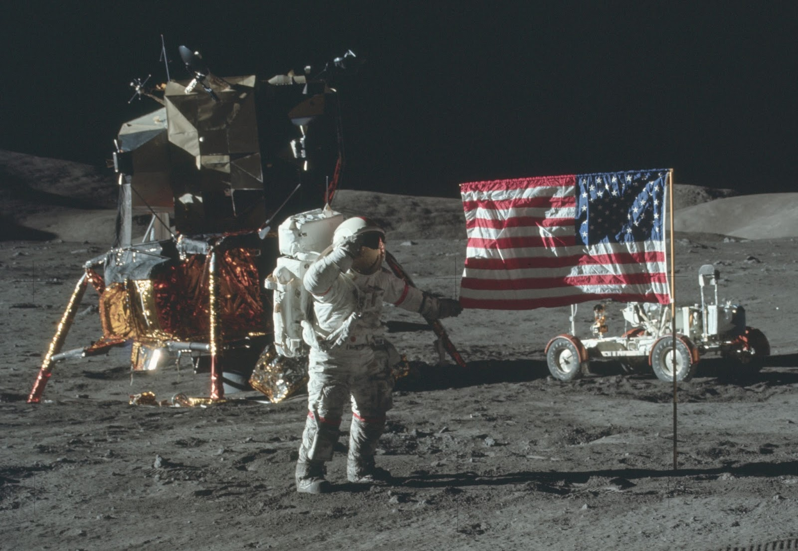 Apollo 17 holding flag