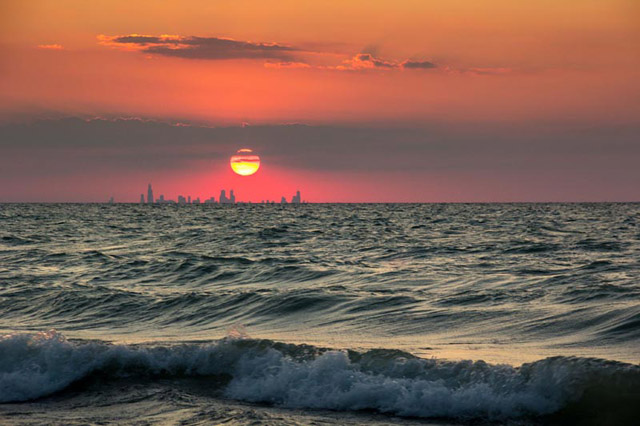 Chicago Skyline From Indiana Sunset Across Water