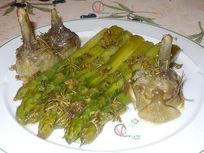 Trigueros y alcaciles asados con aceite de hierbas.