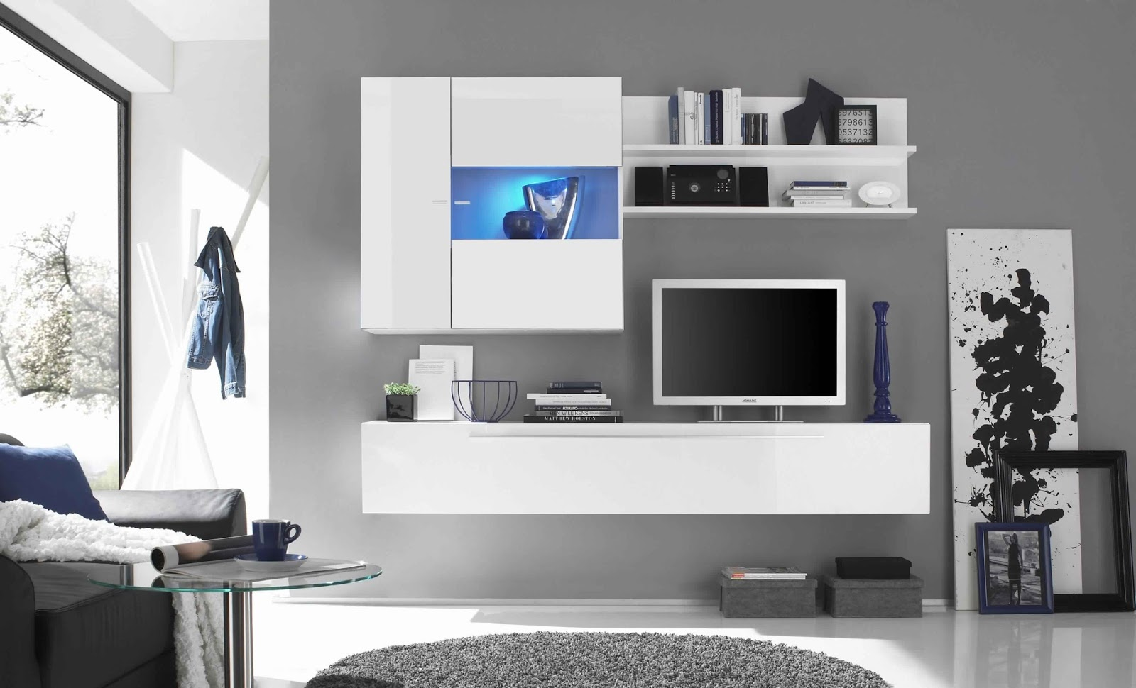 meuble tv blanc laque alinea. Black Bedroom Furniture Sets. Home Design Ideas