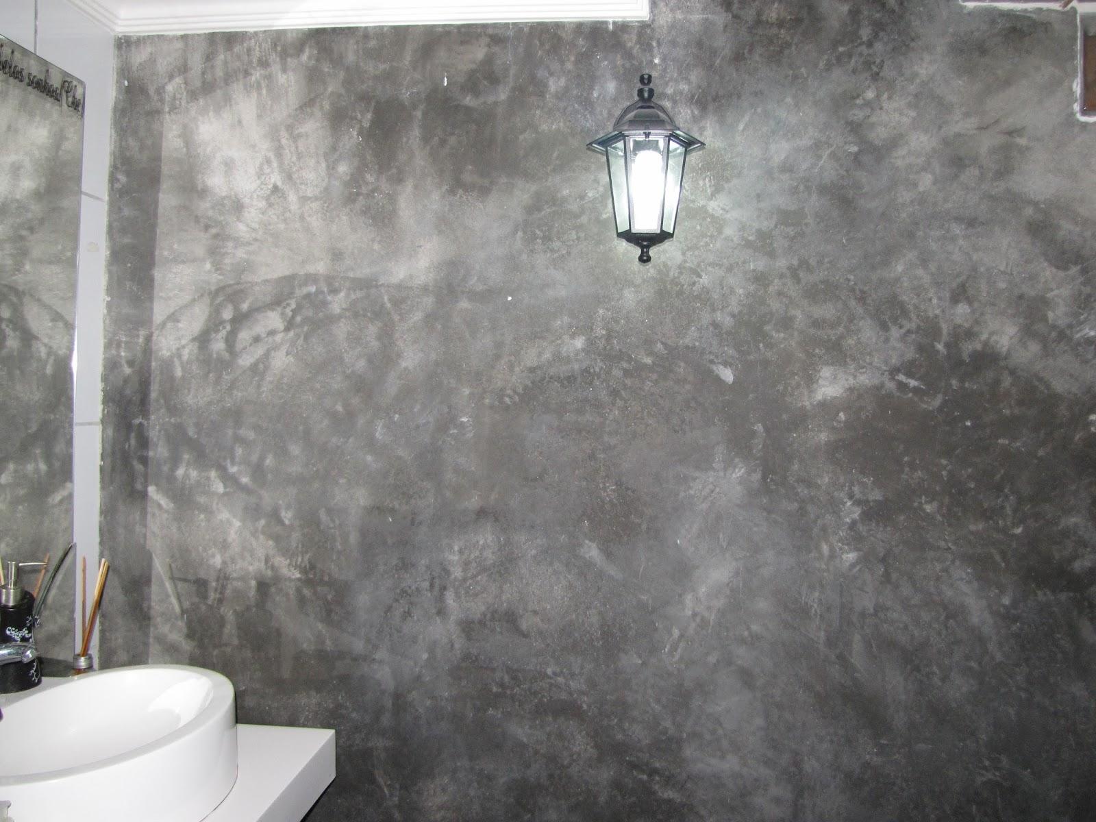Parede de cimento queimado do lavabo. #57514F 1600x1200 Banheiro Com Parede De Cimento Queimado