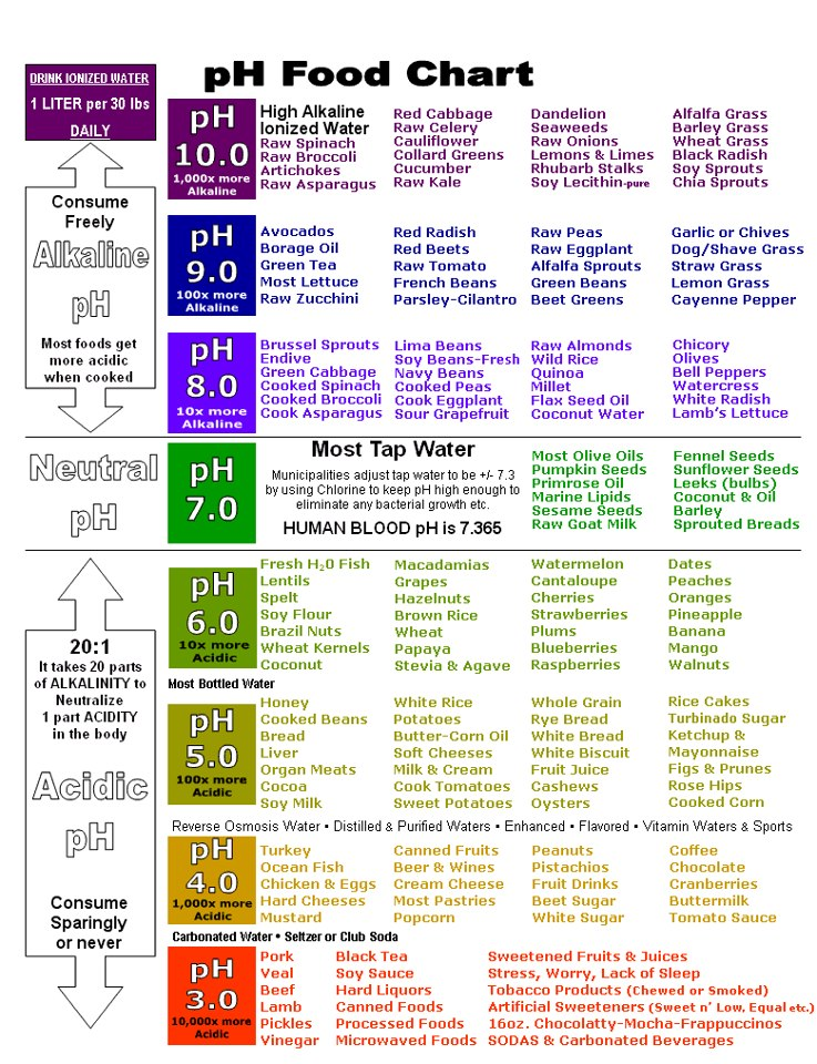 pH Food Chart - Organic Addict