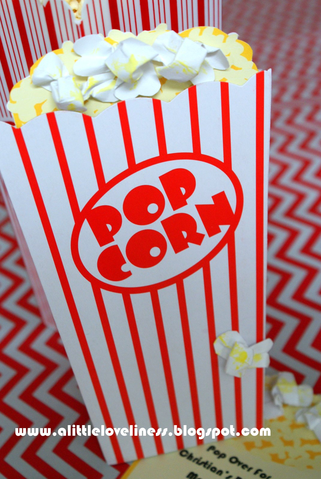 A Little Loveliness: Popcorn Movie Party Invitation Tutorial
