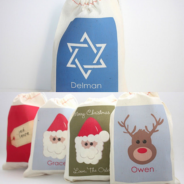 Paper Nook Christmas/Hanukkah drawstring favor bags Mario party