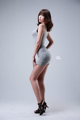 Lee Eun Hye Sexy Race Queen Tight Grey Dress