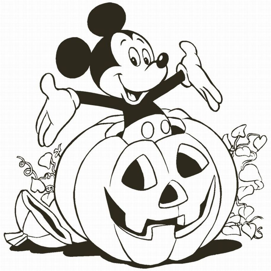 coloring page of mickey mouse - mickey with pumpkin coloring child coloring