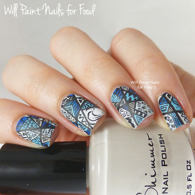 Monochromatic intricate patchwork nail art