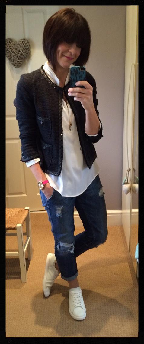 Boucle Jacket, Oversized White Shirt, Distressed Denim, Boyfriend Jeans, White Trainers, My Midlife Fashion, Zara, Mango, Olivia Burton