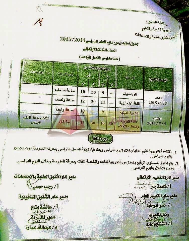 جداول امتحانات محافظة المنوفية أخر العام2015 كل الفرق 214.jpg
