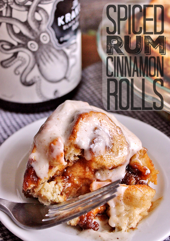 Hot Buttered Rum Cinnamon Rolls- AKA Spiced Rum Rolls, Use a dark spiced rum or substitute with rum flavoring and extract. National #HotButteredRumDay is January 17