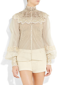 Silk-tulle Blouse with Ornate Therese - front