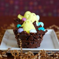 Chocolate and Peanut Butter Peep Nests