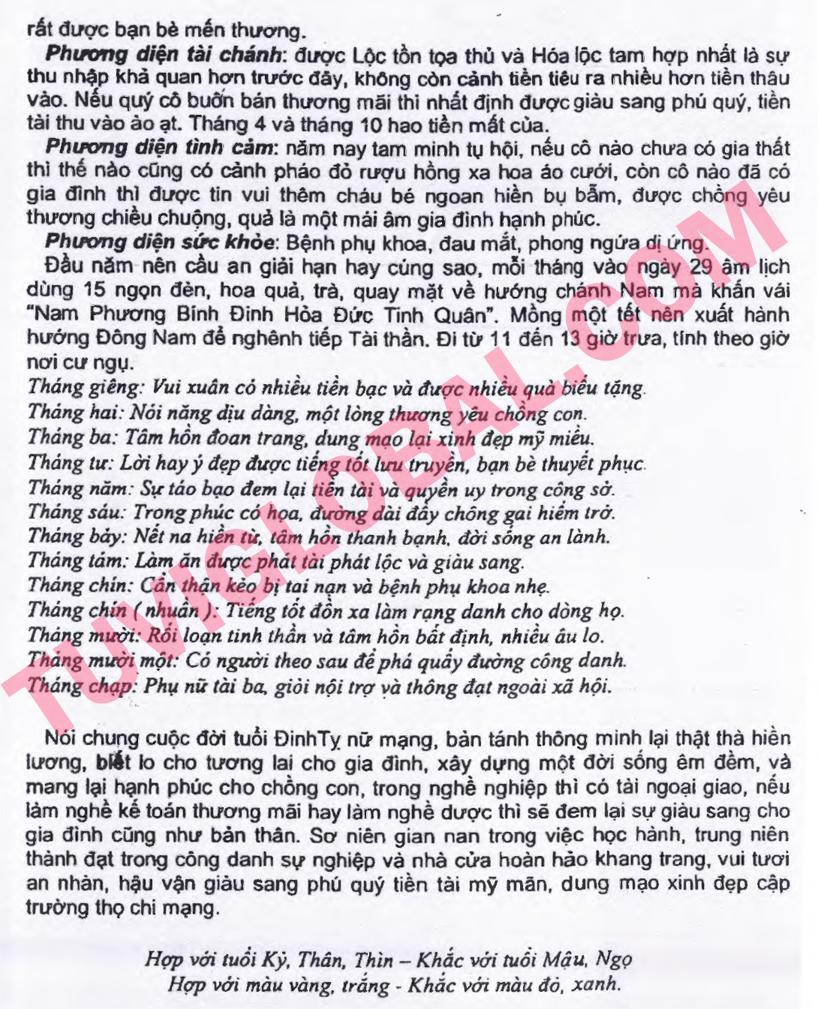 Xem tử vi tuổi Đinh Tỵ nữ mạng năm 2014 Giáp Ngọ