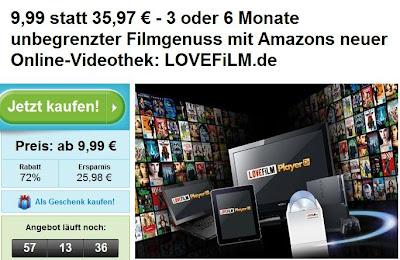 Groupon: 3 oder 6 Monate Lovefilm-Flatrate für 9,99 oder 18,99 Euro