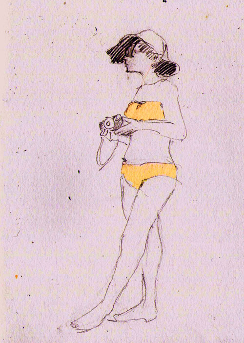 One of my sister's friends, in a lovely vintage style bikini.
