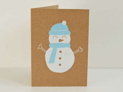 Happy Snowman screen printed card 1