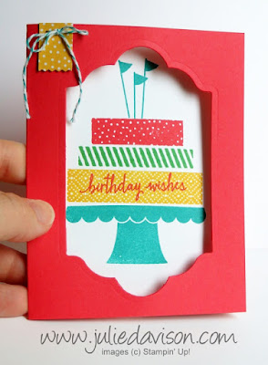 VIDEO TUTORIAL for Stampin' Up! Build a BIrthday Window Card #stampinup www.juliedavison.com