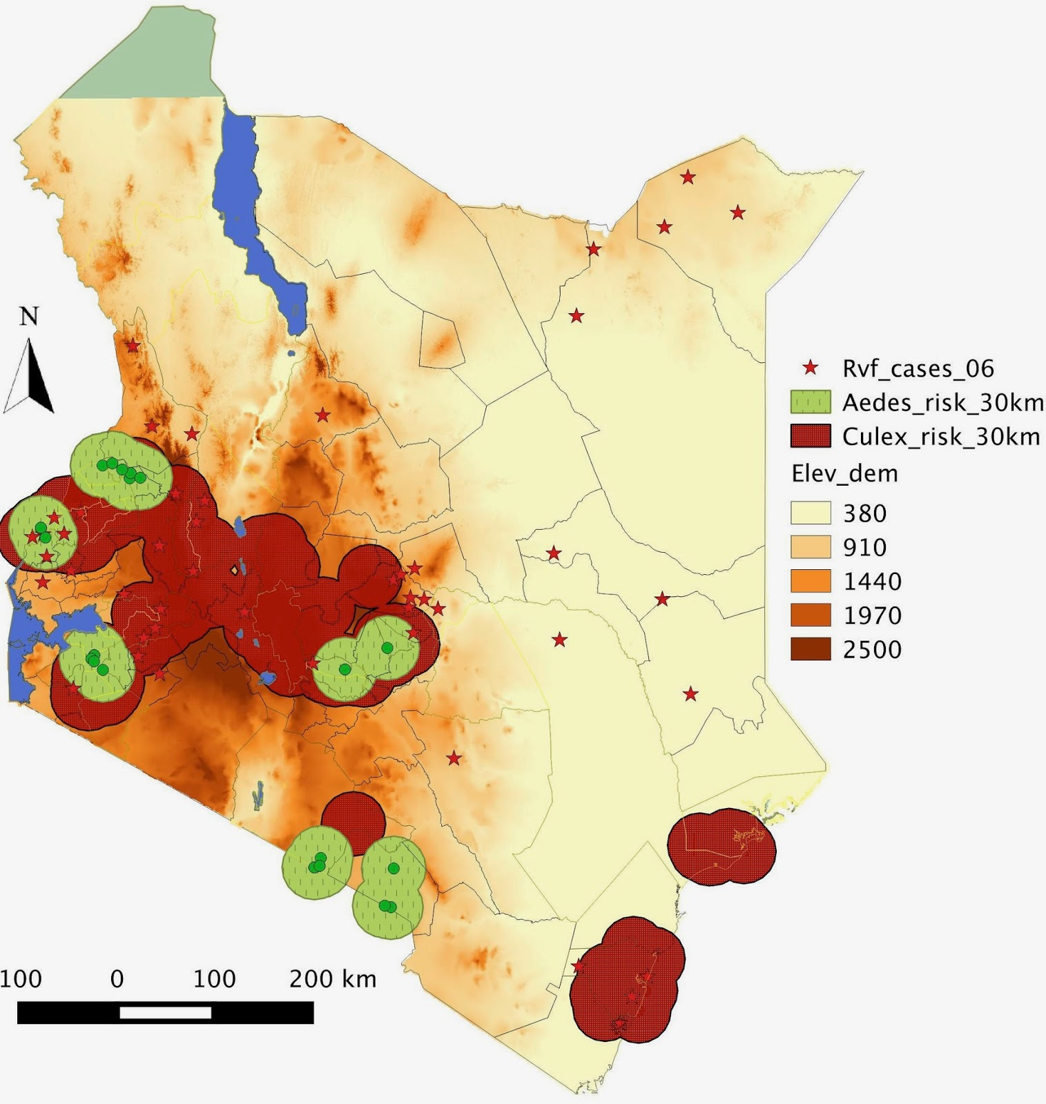 spatial risk assessment of rift valley fever potential outbreaks using a vector surveillance system in kenya