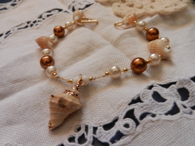 brown pearl and shell bracelet