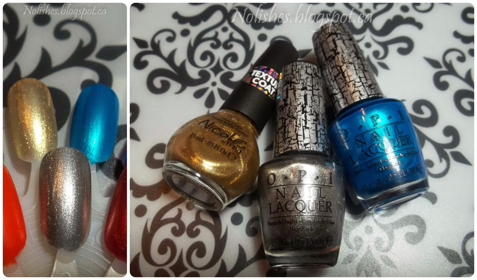 Swatches: OPI's 'Silver Shatter' and 'Turquoise Shatter', and Nicole by OPI's 'Gold Texture' used as regular polish