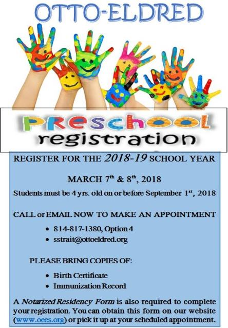 3-7/8 Preschool Registration