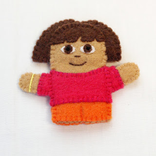 Dora the Explorer felt finger puppet, handmade by Joanne Rich
