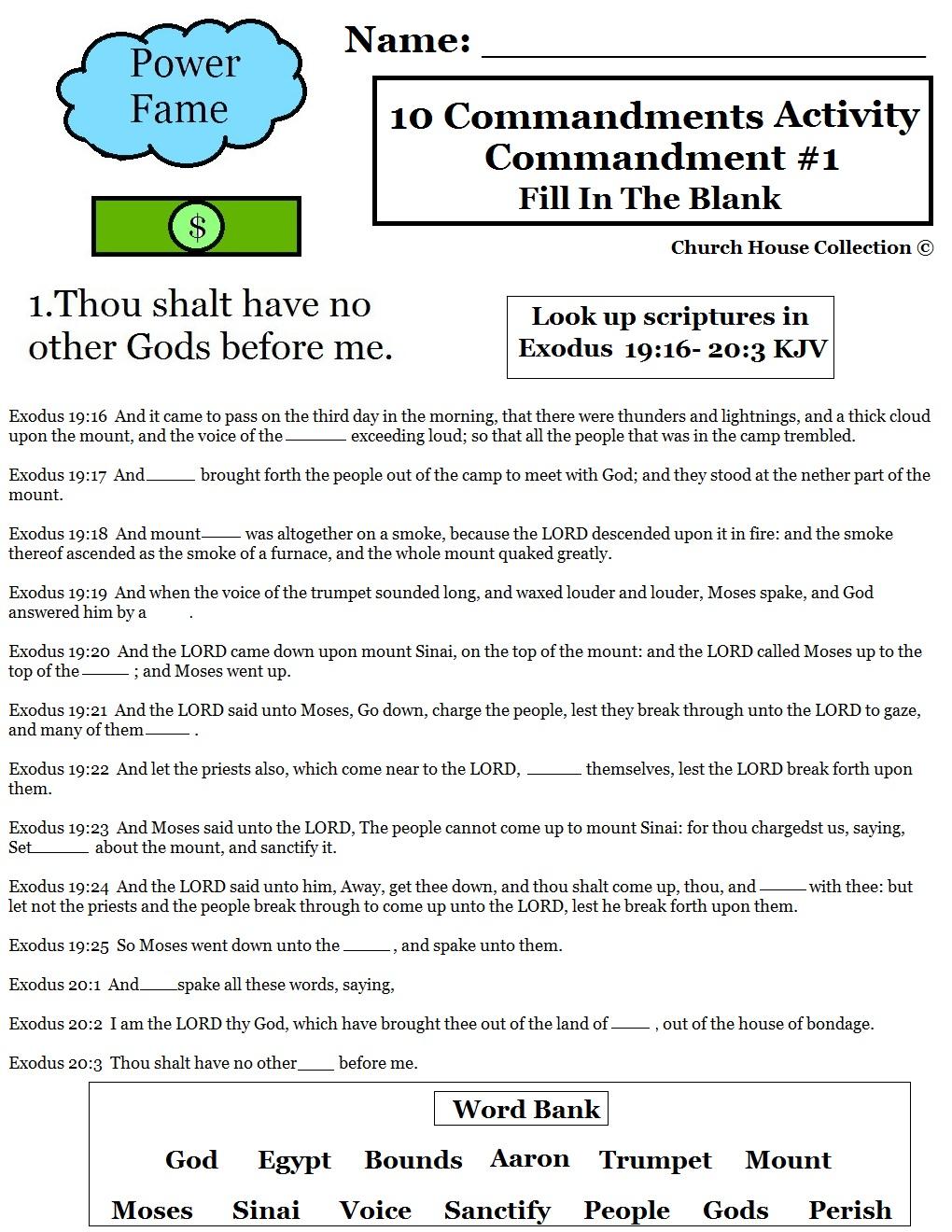 Printables. 10 Commandments Worksheet. Gozoneguide Thousands of  math worksheets, worksheets, free worksheets, education, and grade worksheets Ten Commandments Worksheets For Kids 1320 x 1020