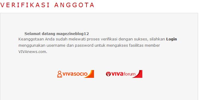 sukses verifikasi keanggotaan atau member vivanews