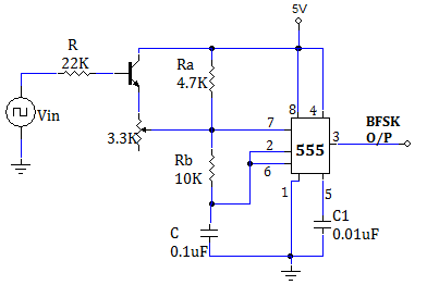 fsk modulation using 555 Hi, as ric mentionned in post #4 there is a dedicated unit in pic12f1822 called dsm ( data signal modulator ) which is exactly done to do complex modulation schemes.