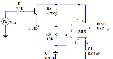 binary frequency shift keying bfsk using  timer  my circuits, fsk circuit diagram, fsk circuit diagram explanation, fsk demodulator circuit diagram